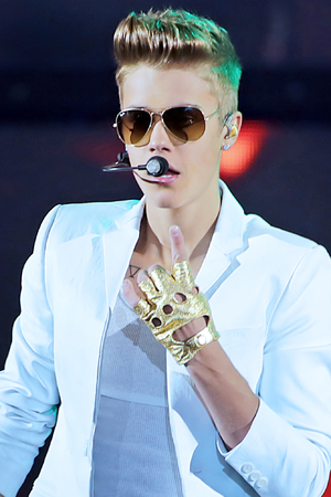 Justin Bieber performing during his 'Believe Tour' at the Manchester Arena.