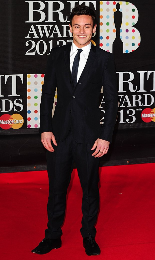Tom Daley arriving for the 2013 Brit Awards at the O2 Arena, London