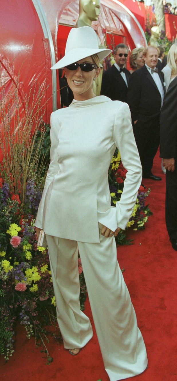 Celine Dion, Christian Dior white satin backward tuxedo, fedora, 71st annual Academy Awards, 1991