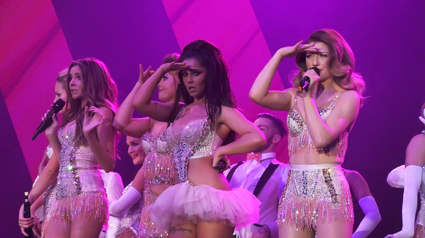 Girls Aloud performing live in concert on the opening night of their '10' tour