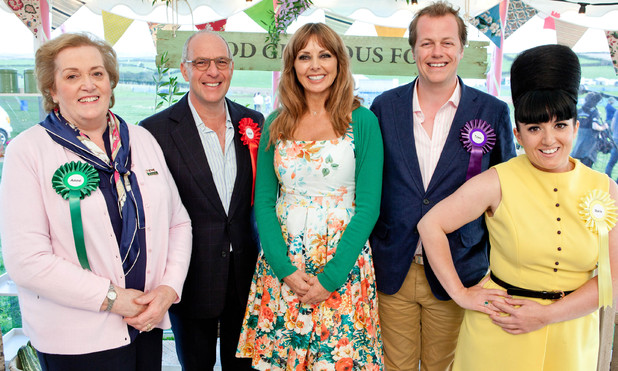 'Food Glorious Food' - Judges Anne Harrison, Loyd Grossman, Tom Parker Bowles and Stacie Stewart with presenter Carol Vorderman