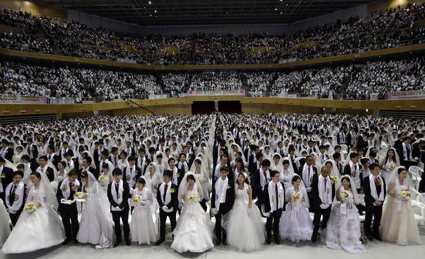 Couples from around the world participate in a mass wedding ceremony at the CheongShim Peace World Center in Gapyeong, South Korea