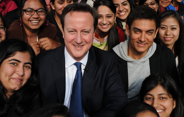 David Cameron poses with Bollywood superstar Aamir Khan