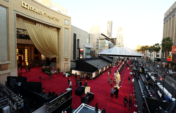 The red carpet is prepared at the Dolby theatre.