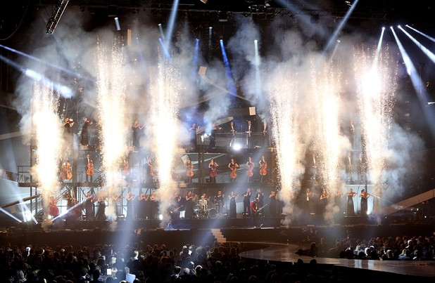 Muse opening the 2013 Brit Awards at the O2 Arena, London