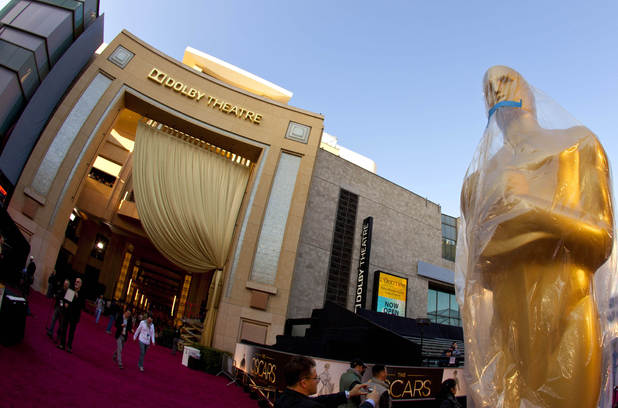 The exterior of the Dolby Theatre as preparations for the Oscars get underway.