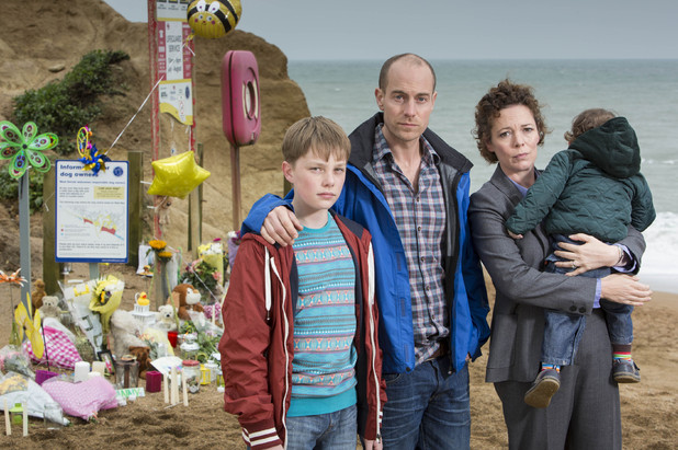 ITV's 'Broadchurch': Matthew Gravelle as Joe Miller, Adam Wilson as Tom Miller and Olivia Colman as Ellie Miller