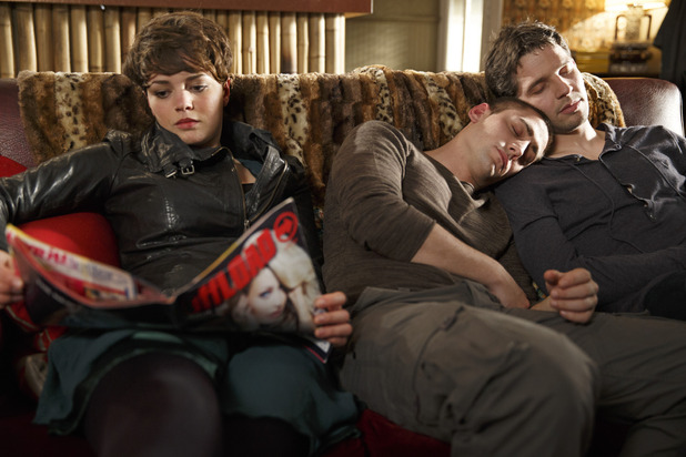 Alex (Kate Bracken), Tom (Michael Socha) and Hal (Damien Molony)
