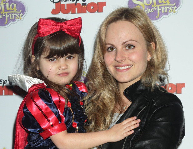 Tina O'Brien and daughter Scarlett arriving for the VIP family screening to launch Disney's new series Sofia The First.