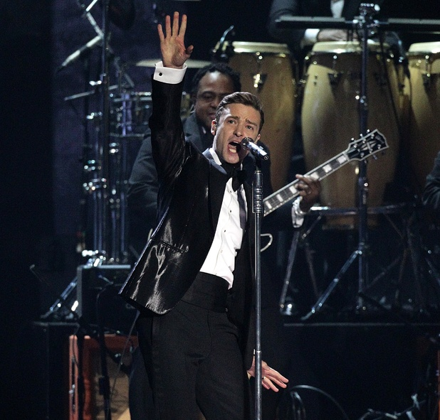 Justin Timberlake performs during the 2013 Brit Awards at the O2 Arena, London.