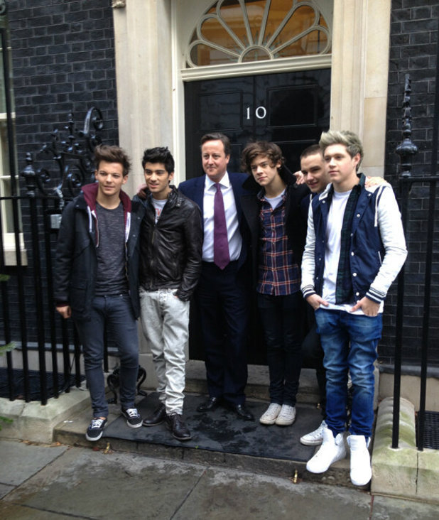 David Cameron with One Direction at 10 Downing Street