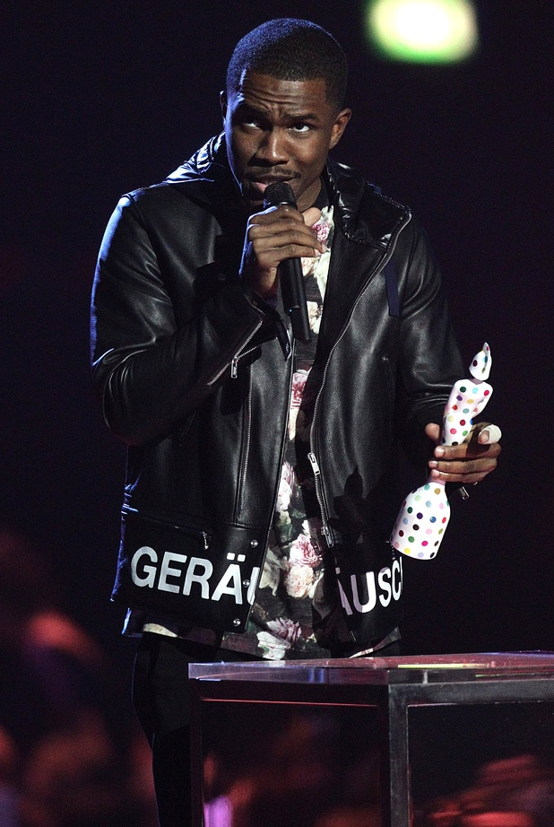 Frank Ocean collects the award for Best International Male during the 2013 Brit Awards at the O2 Arena, London.