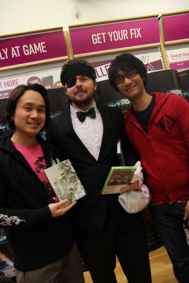 Dedicated fans pose with Hideo Kojima and Yoji Shinkawa