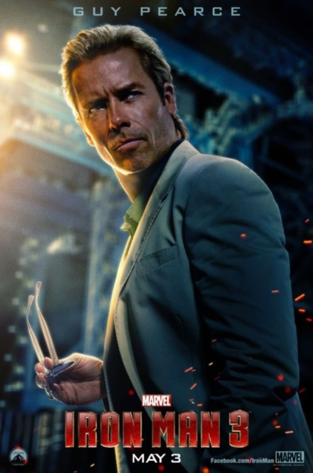 Guy Pearce in 'Iron Man 3' poster