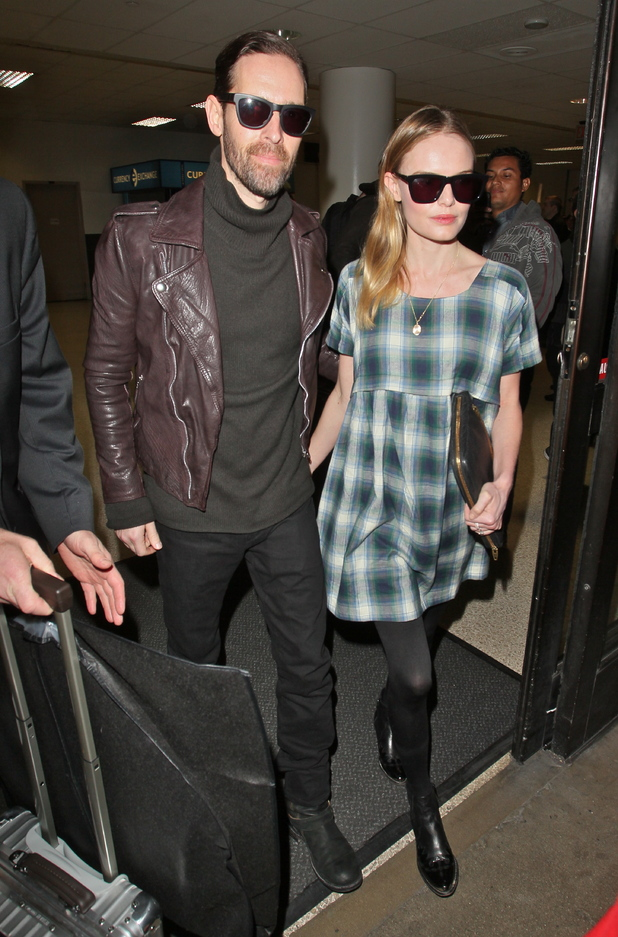 Kate Bosworth and her fiance Michael Polish arriving at LAX airport