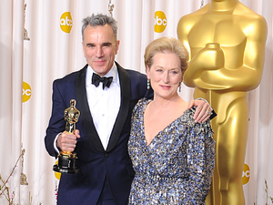 Daniel Day-Lewis with his &#39;Best Actor&#39; Oscar, accompanied by Meryl Streep