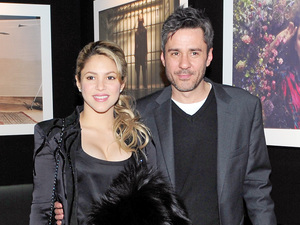 Shakira and photographer Jaume de Laiguana at an exhibtion opening for his retrospective work from 1997-2012 at the Palau Robert
