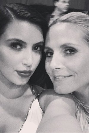Kim Kardashian and Heidi Klum pose for a Twitter picture at Elton John's Oscars after party
