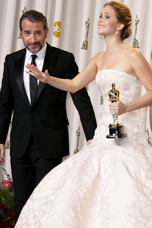 The 85th Annual Oscars at Hollywood & Highland Center - Press RoomFeaturing: Jennifer Lawrence,Jean Dujardin Where: Los Angeles, California, United States When: 24 Feb 2013 Credit: Adriana M. Barraza/WENN.com