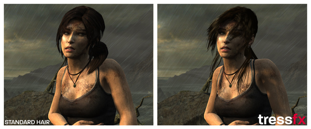 Tomb Raider images show the difference with AMD's new Tressfx hair technology.