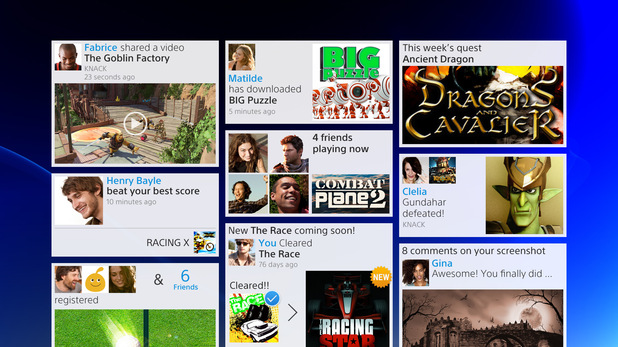PlayStation 4 menu screens in pictures: The Friend Feed screen