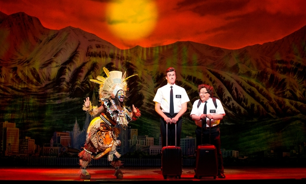 Gavin Creel (Elder Price) and Jared Gertner (Elder Cunningham) in The Book of Mormon