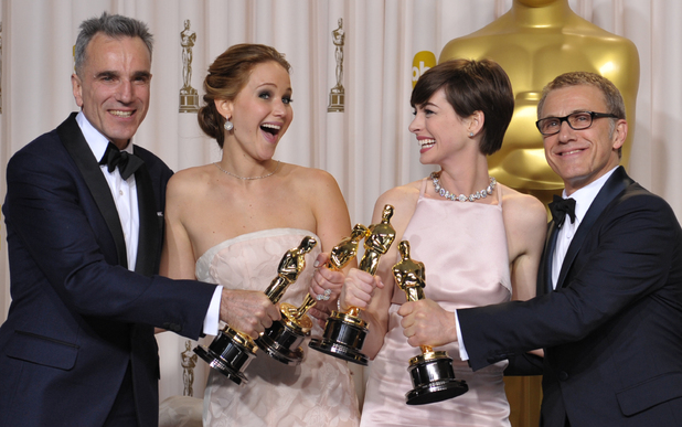 Oscars 2013: Acting award winners Daniel Day-Lewis, Jennifer Lawrence, Anne Hathaway and Christoph Waltz