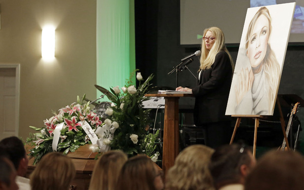 Gayle Inge, mother of country music star Mindy McCready, speaks during her daughter's funeral ceremony at the Crossroads Baptist Church in Fort Myers, Fla., on Tuesday, Feb. 26, 2013