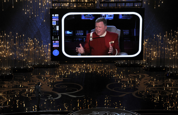 Seth MacFarlane and William Shatner on stage at the 2013 Oscars