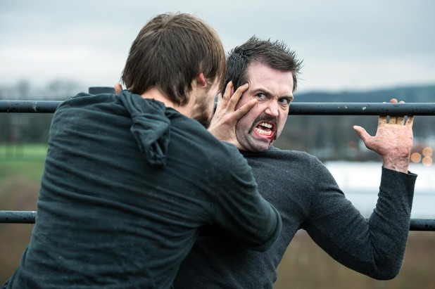 Brendan and Walker fight in Hollyoaks