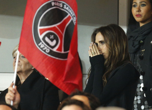 Victoria Beckham watches husband David&#39;s Paris St Germain debut (PA green label)