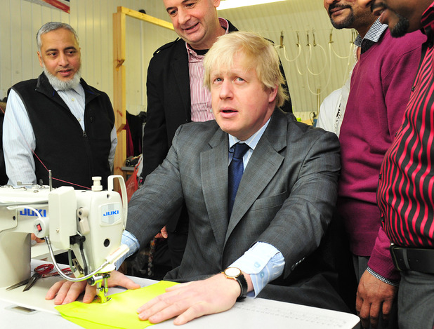 Boris Johnson, East End Manufacturing Ltd clothing factory