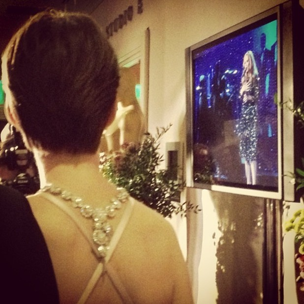 Anne Hathaway watches Adele at the Oscars 2013