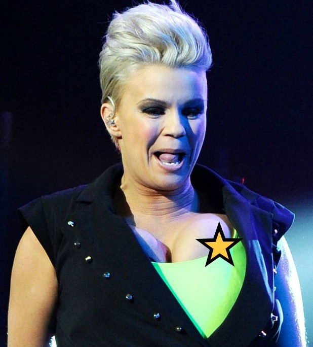 Atomic Kitten's Kerry Katona has a nip slip at the Big Reunion concert
