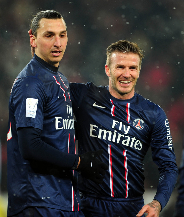 David Beckham and Zlatan Ibrahimovic on Beckham&#39;s Paris St Germain debut (PA green label)
