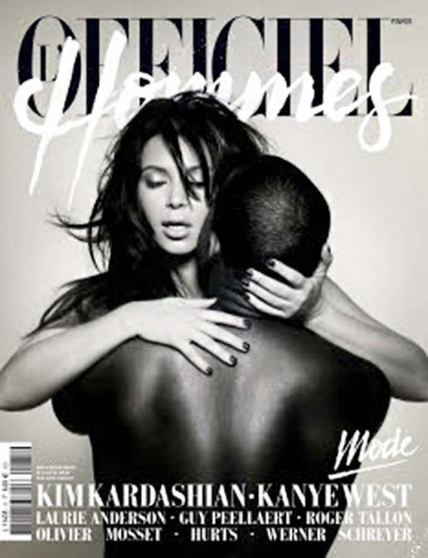 Kim Kardashian and Kanye West on cover of L'Officiel Hommes magazine - 26 February 2013