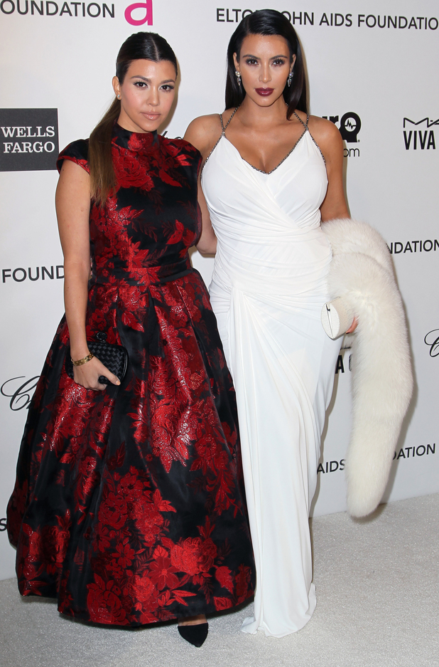 Kourtney Kardashian, Kim Kardashian, 21st Annual Elton John AIDS Foundation's Oscar Viewing Party