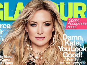 Kate Hudson on the cover of Glamour's April issue.