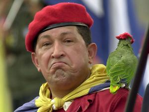 Hugo Chavez, parrot, traditional red beret, Caracas, Venezuela