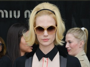 January Jones, Miu Miu, Paris Fashion Week 2013