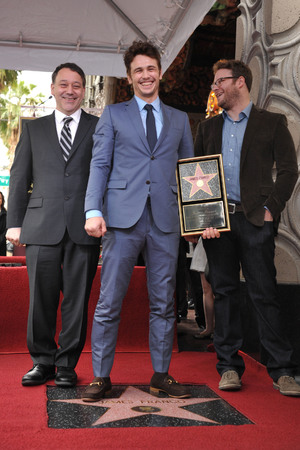 James Franco with Seth Rogen and Sam Raimi at his Hollywood Walk of Fame star ceremony