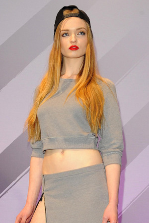 A model showcasing  Rihanna's new fashion line at the River Island store in Oxford Street, London