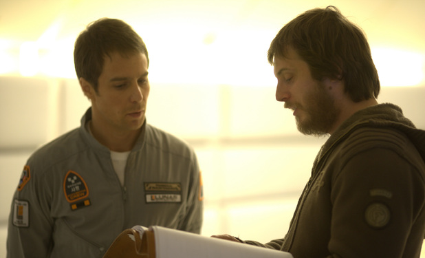 Director Duncan Jones and Sam Rockwell on the set of 'Moon' in 2009