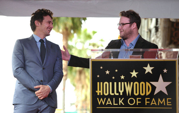 James Franco with Seth Rogen at the Hollywood Walk of Fame