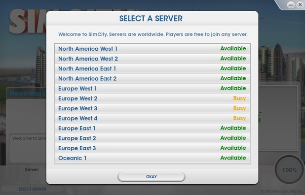 SimCity server update