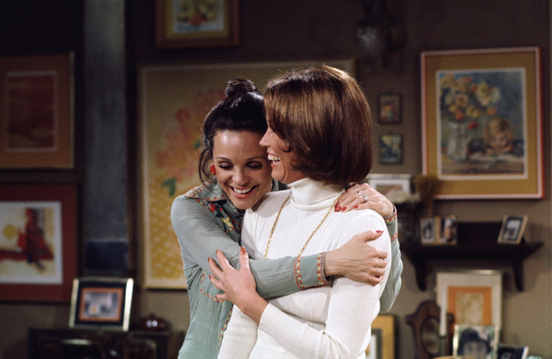 Mary Tyler Moore and Valerie Harper on the set of &#39;Rhoda&#39; - initial TX March 10, 1975