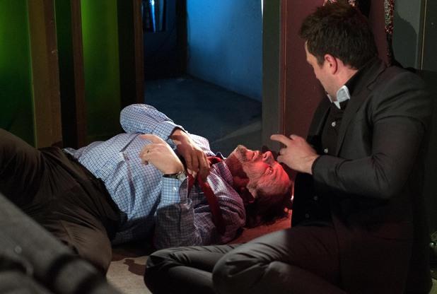 Seamus falls to the floor.