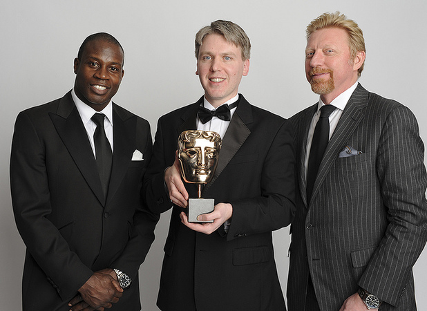 Simon Read from New Star Games picks up the BAFTA in the Sports/Fitness category for 'New Star Soccer', presented by Boris Becker and Martin Offiah at the BAFTA Games Awards 2013