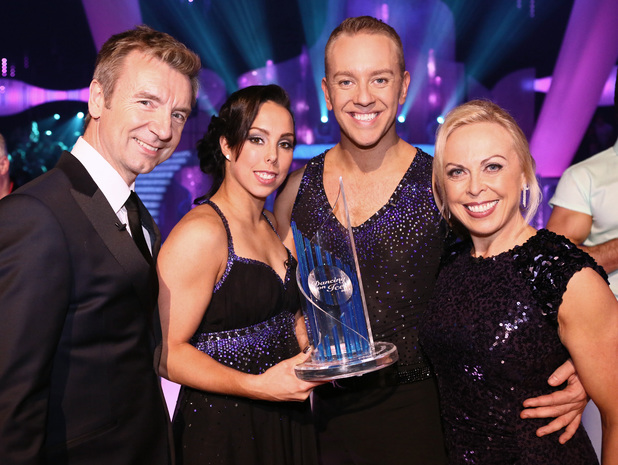 Beth and Daniel celebrate their win with Jayne and Chris.