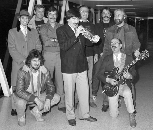 Kenny Ball and His Jazzmen arriving back at Heathrow Airport following their sell-out tour of the Soviet Union in January 1984.